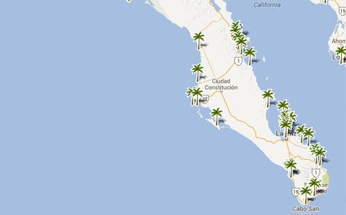 Mapa De Playas En  Baja California Sur