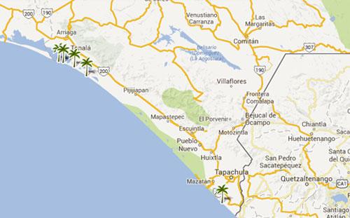 Mapa De Playas En  Chiapas