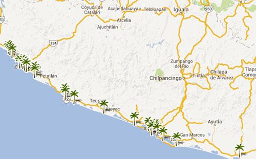 Mapa De Playas En  Guerrero