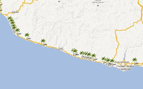 Mapa De Playas En  Michoacan