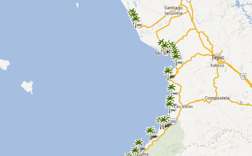 Mapa De Playas En  Nayarit