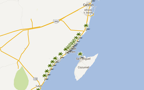 Mapa De Playas En  Quintana Roo