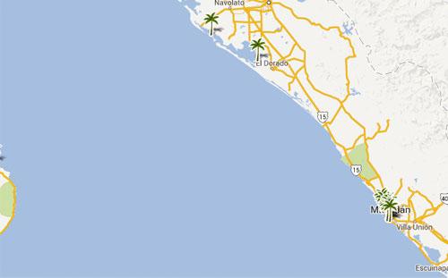 Mapa De Playas En  Sinaloa