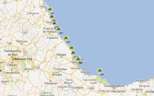 Mapa De Playas En  Veracruz