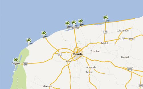 Mapa De Playas En  Yucatan